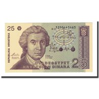 Billet, Croatie, 25 Dinara, 1991-10-08, KM:19a, NEUF - Croatie