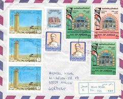 JORDAN - AIR MAIL RECO 1993 WADI MUSA -> AHLEN/GERMANY Mi #1508A, 1509A, 1401A - Jordanie
