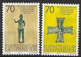 2001  Liechtenstein   Mi. 1266-7**MNH   100 Jahre Historischer Verein Für Das Fürstentum Liechtenstein - Liechtenstein