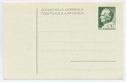 YUGOSLAVIA 1968 Tito 0.30d Postcard, Unused.  Michel P172 - Postal Stationery