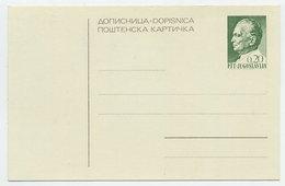 YUGOSLAVIA 1968 Tito 0.20d Postcard, Unused.  Michel P171 - Postal Stationery