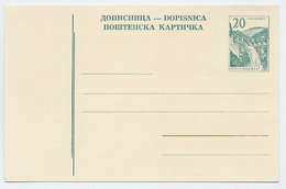 YUGOSLAVIA 1965 Construction Projects 20d Postcard, Unused.  Michel P164 - Postal Stationery
