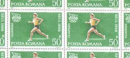 Romania 1988 Full Sheet Of 50 Bani Seoul Summer Olympics Running Stamps MNH - Full Sheets & Multiples