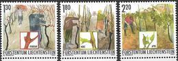 2003  Liechtenstein   Mi. 1311-13**MNH  . Das Jahr Des Winzers (I) - Die Winzerarbeit Im Frühjahr. - Liechtenstein