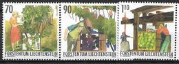 2003  Liechtenstein   Mi. 1322-4**MNH   Die Winzerarbeit Im Herbst - Liechtenstein