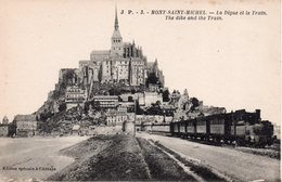 CPA 50  MANCHE - MONT- SAINT- MICHEL  - La  Digue Et  Le  Train - Le Mont Saint Michel