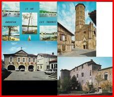 4 CPSM/gf (GERS) Barbotan, Multivues / Lombez, Cathédrale / Cazaubon, Mairie / Fources, Vieux Château Médiéval...B997 - Non Classés