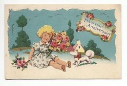 Carte Fantaisie Heureux Anniversaire  En RELIEF PAR COLLAGE ROBY (FILLETTE EN AJOUTIS) Paillettes - Anniversaire