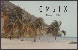 POS-901 CUBA POSTCARD QSL RADIO 1960. PLAYA BIBIJAGUA BEACH. PINES IS. - Cuba