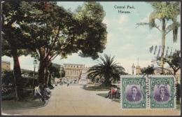 POS-945 CUBA POSTCARD. 1909. HAVANA, CENTRAL PARK TO BOHEMIA, CZECHOSLOVAKIA. - Cuba