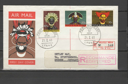 PNG Papua New Guinea 1968 Headdresses Set Of 4 On Registered FDC To Germany - Papouasie-Nouvelle-Guinée