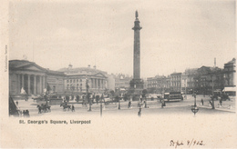 Old Postcard 1902 - St. George's Square Liverpool England - Valentine's - Undivided Back - VG Condition - 2 Scans - Liverpool