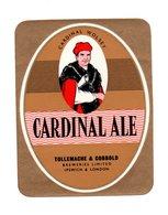 UNUSED BEER LABEL - TOLLY & COBBOLD BREWERY (IPSWICH, ENGLAND) - CARDINAL ALE (1960s) (SEE SCAN & DESCRIPTON) - Beer
