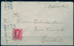 1928 , VALENCIA , SOBRE CIRCULADO A CREVILLENTE ( ALICANTE ) , LLEGADA AL DORSO. - 1889-1931 Regno: Alfonso XIII