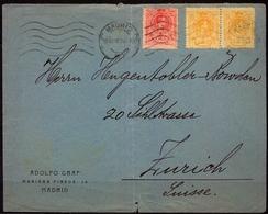 MADRID , SOBRE COMERCIAL CIRCULADO A ZÜRICH - 1889-1931 Regno: Alfonso XIII
