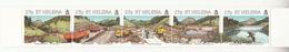 1995 St. Helena Earth Dam Construction Excavators Trucks Birds Complete Strip Of 5 MNH - Sainte-Hélène