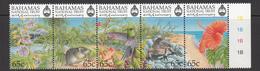 1999 Bahamas National Trust October  Birds Hummingbird Flowers Lizard Rodent Complete Strip Of 5 MNH - Bahamas (1973-...)