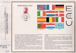 FEUILLET CEF TIRAGE 20.300 EX EN OFFSET, TIMBRE POSTE EN ECU, 1988 - Institutions Européennes