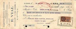 Lettre De Change - Comptoir Général Lyonnais Pour Pièces Détachées Pour L'automobile, E.VIAL 1928 - Bills Of Exchange