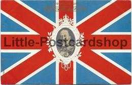 AK Union Jack God Save The King Portrait George V Ca. 1900 - Personnages Historiques