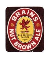 UNUSED BEER LABEL - BRAINS BREWERY (CARDIFF, WALES) - NUT BROWN ALE - Beer
