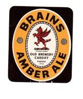UNUSED BEER LABEL - BRAINS BREWERY (CARDIFF, WALES) - AMBER ALE - Beer