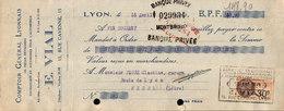 Lettre De Change - Comptoir Général Lyonnais Pour Pièces Détachées Pour L'automobile, E.VIAL 1929 - Bills Of Exchange