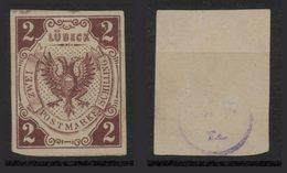 LUEBECK - 1859/62 -  2 S Bruno Rosso - Con Timbrino Nel Retro - See Photos - Luebeck