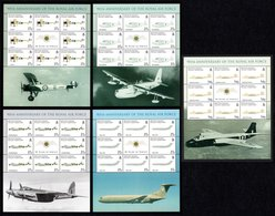 BIOT 2008 90th Anniversary Of The RAF: Set Of 5 Sheets UM/MNH - British Indian Ocean Territory (BIOT)