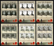 BIOT 2008 Lest We Forget: WWI Remembrance: Set Of 6 Sheets UM/MNH - British Indian Ocean Territory (BIOT)