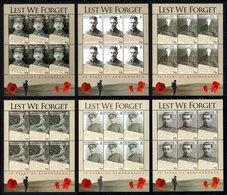 BIOT 2008 Lest We Forget: WWI Remembrance: Set Of 6 Sheets UM/MNH - Britisches Territorium Im Indischen Ozean