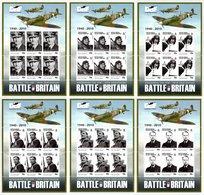 BIOT 2010 70th Anniversary Of The Battle Of Britain: Set Of 6 Sheets UM/MNH - British Indian Ocean Territory (BIOT)