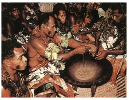 (PF 200) Fiji - Yaqona Ceremony (with Vanuatu Stamp At Back Of Card) - Fidji