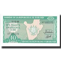 Billet, Burundi, 10 Francs, 1989, 1989-10-01, KM:33b, NEUF - Burundi