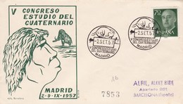 Spain 1957 Cover Dinosaurs Prehistoric Man - Postzegels