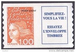 France Marianne Du 14 Juillet N° 3101 A ** Ou 16 A Autoadhésif  De Luquet Le 1.00 Fr Orange + Vignette - 1997-04 Marianne Of July 14th