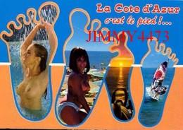 CPM - Deux Belles Jeunes Filles Aux Seins Nus Sur La Plage - LA CÔTE D'AZUR C'EST LE PIED - Scans Recto-Verso - Pin-Ups
