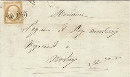 1858- Lettre LOCALE Affr. N° 13 Oblit. OR  2 Fois Pour NOLAY ( Cote D'or ) Le Pli Est D'Yvry En Montagne - Marcophilie (Lettres)