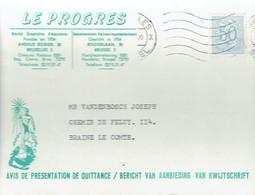 CP à En-tête De La Société Coopérative D'Assurances Le Progrès, Avenue Rogier, Bruxelles Vers Braine-Le-Comte - Commerce