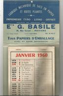 Calendrier , Grand Format , 43 X 17.5, Fabrique  De Sacs En Papier, 1960 , Ets G. BASILE , POITIERS , Frais Fr 2.85 E - Big : 1941-60