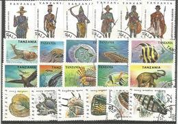 Tanzania, 22 Francobolli Differenti Tematiche, Costumi, Folklore, Fauna, Conchiglie, Pesci. - Tanzania (1964-...)