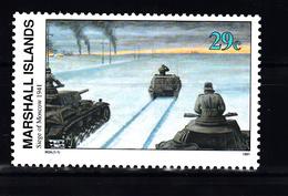 Marshalleilanden 1991 Mi Nr 377 Second War:  Belegering Van Moskou Door De Duitsers, Tank, - Marshalleilanden
