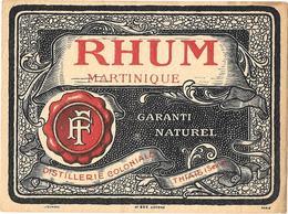 Etiquette RHUM MARTINIQUE - F.F. DISTILLERIE COLONIALE - THIAIS Imp JOUNEAU N° 939 - LITHOGRAPHIE - Rhum