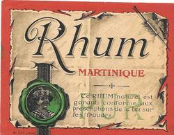 Etiquette RHUM MARTINIQUE -  Imp JOUNEAU- BOURDILLAT  N° 557 - LITHOGRAPHIE - Rhum