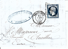 MARQUE POSTALE LAC   23 PERIGUEUX A AURILLAC   13 JUIN 1857  PC 2402 - Marcophilie (Lettres)