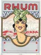 Etiquette RHUM  -Portrait D'une Martiniquaise Chromo-lithographie Réhaussé Dorure- Imp M V D H N°1059 - Rhum
