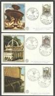 1975 Italia Italy Repubblica FONTANE D'ITALIA  FOUNTAINS Serie Di 3v. Su 3 FDC - Architettura