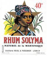 Etiquette RHUM SOLYMA Naturel De MARTINIQUE -REVEL FOSSORIER LYON-Portrait Sur étoile Dorée - PLOUVIEZ N° 383 - Rhum