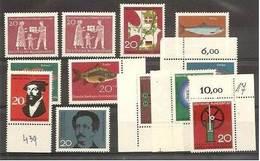 1963 1964 GERMANIA GERMANY DEUTSCHLAND 7 Serie: 262x2+271+284/87+307+308+ 310/12 MNH** - [7] Federal Republic