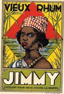 """Etiquette VIEUX RHUM """" JIMMY """" -portrait D'une Martiniquaise Sur Losange, Réhaussé Dorure- Imp R.C.COURTRAI N°5245 - Rhum"""